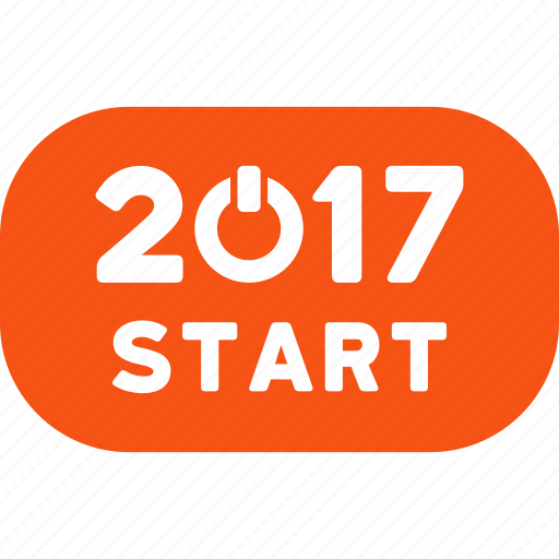2017 year, control, press, rounded button, start, switch, turn on icon