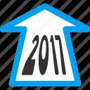 2017, ahead arrow, forward, future, navigation, new year, next icon
