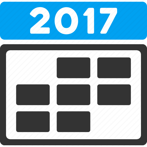 2017 year, appointment, calendar, date, grid, schedule, time table icon