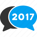 2017 year, chat, comment, communication, connection, contact, message, talk icon