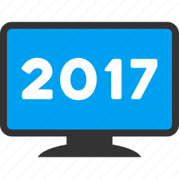 2017 year, desktop pc, display, electronic, equipment, monitor, screen icon