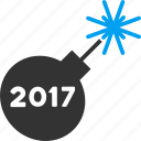 2017 year, bomb, detonator, festival, fire, fireworks, petard icon