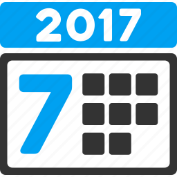 2017 year, calendar, grid, organizer, schedule, time table, week icon
