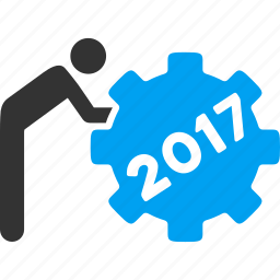 2017 year, employee, job, service, staff, task, working man icon