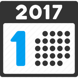 1st date, 2017 year, appointment, calendar, first day, number one, schedule icon