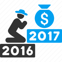 2017 year, deposit, finance, money bag, pray, prayer, religion icon