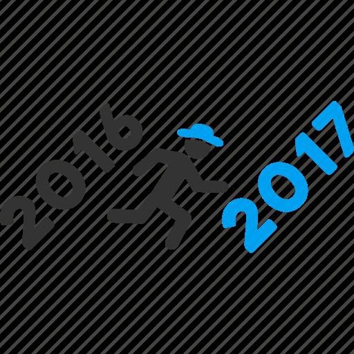 2017 year, activity, forward, future, new year, run, running man icon
