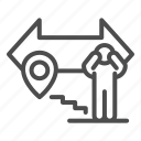 isolation, people, distance, spread, arrow, navigation, location