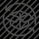 box, transportation, return, shipment, package, arrow, cardboard