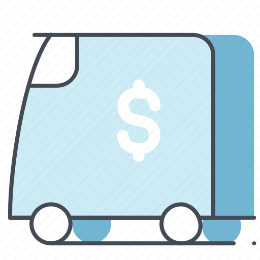 business, cash, dollar, finance, money, transport, van icon