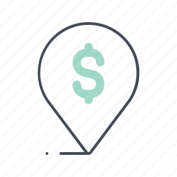 business, dollar, economy, location, mark, pin, place icon
