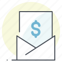 accounting, communication, dollar, email, letter, mail, payment icon