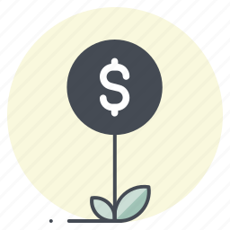 business, dollar, economy, finance, growth, money plant, success icon