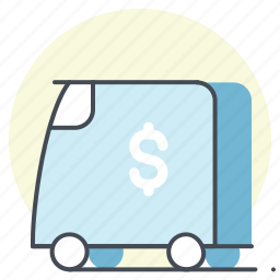 accounting, cash, delivery, dollar, money, transportation, truck icon