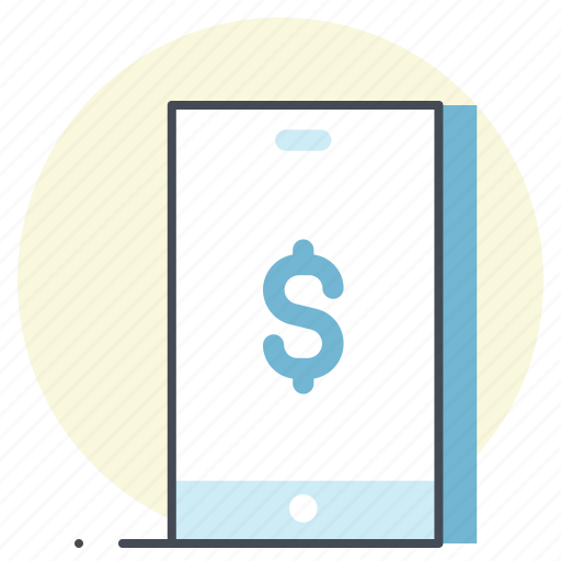 device, dollar, finance, mobile, money, payment, transaction icon
