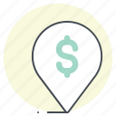 business, dollar, finance, location, money, pin, place icon
