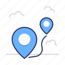 pins, route, way icon