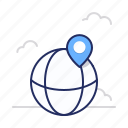 globe, location, marker icon