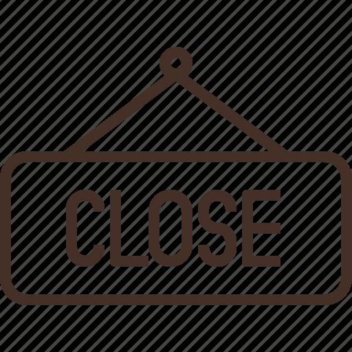 close, hang, light, shop, sign icon