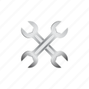 automotive, crossed, mechanic, repair, steel, tool, wrench icon