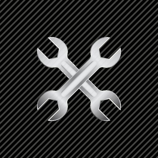 automotive, crossed, mechanic, repair, steel, tool, wrench icon