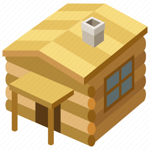 building, cabin, house, hunting, lodge, log, woods icon