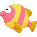 cartoon fish, fish, halobios, marine organism, sea icon