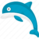 cartoon dolphin, cartoon fish, dolphin, fish, halobios, marine organism, sea icon