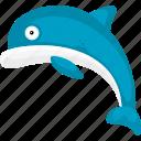 cartoon dolphin, cartoon fish, dolphin, fish, halobios, marine organism, sea icon