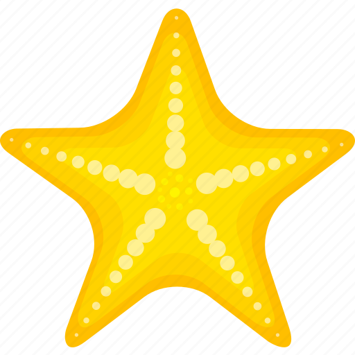 cartoon starfish, halobios, marine organism, sea, starfish icon