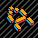 3d a, a, alphabet, font, letter, text icon