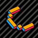 3d c, c, letter, alphabet, font, text icon