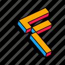 3d f, alphabet, f, font, letter, text icon