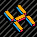 3d h, h, letter, alphabet, font, text icon