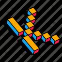 3d k, alphabet, font, k, letter, text icon