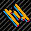 3d n, alphabet, font, letter, n, text icon