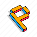 3d p, alphabet, font, letter, p, text icon