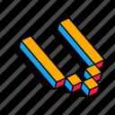 3d v, alphabet, font, letter, text, v icon