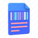 order, document, paper, barcode, receipt