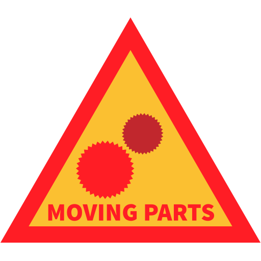 attention, cog, moving parts, warning icon