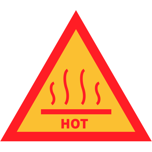 attention, hot, sign, warning icon