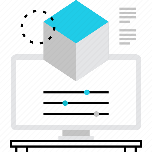 data, information, measurements, modeling, object, proportions, settings icon