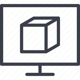 cube, monitor, print, printer, product icon