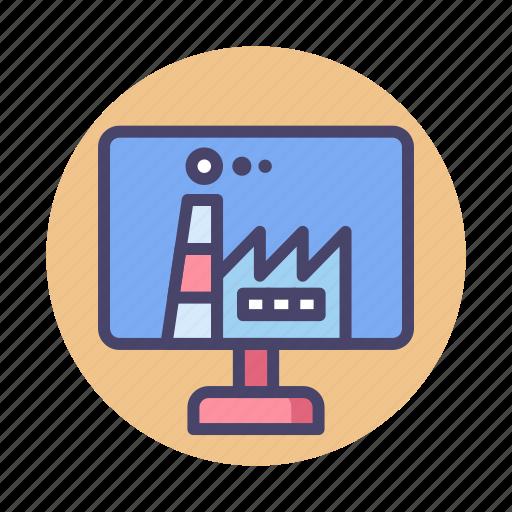 digital, digital factory, factory icon
