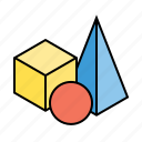 3d, cube, design, geometry, model, shape, view icon