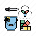 3d, bucket, color, dropper, equipment, palette, picker, tool icon