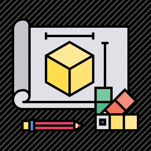 3d, blueprint, cube, design, dimension, model, plan, project icon