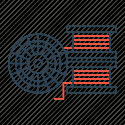 bobin, equipment, filament, roll, wire icon