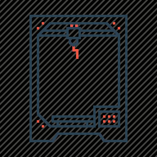 3d, device, glassware, heat, laser, machine, printer icon