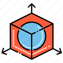 cube, modification, scale, sphere icon